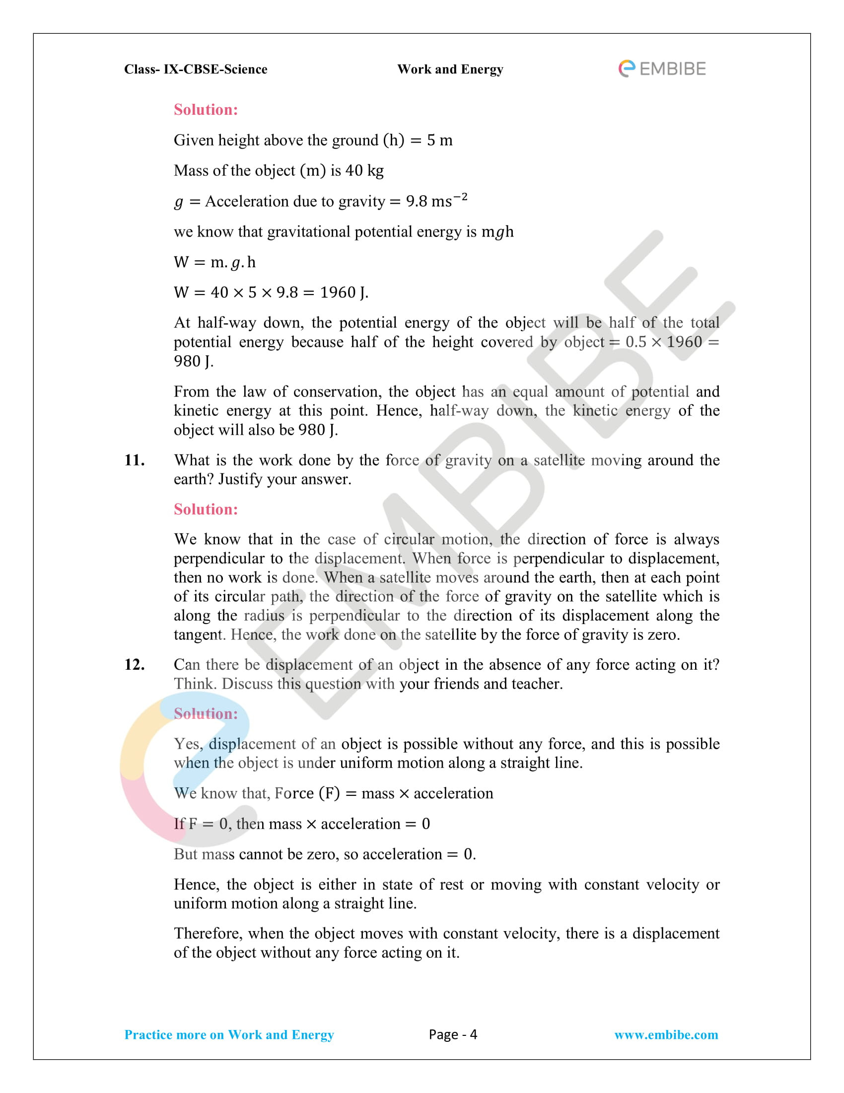 Work Energy and Power Worksheet Ncert solutions for Class 9 Science Chapter 11 Work and