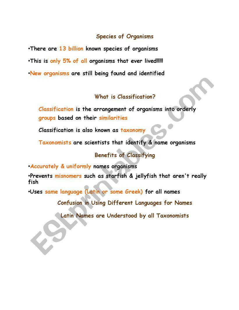 Worksheet Classification Of Matter Classification Of Life Esl Worksheet by Tasctablet1