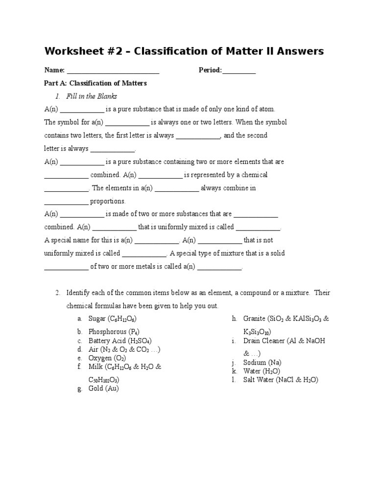 Worksheet Classification Of Matter Classification Of Matters Worksheet 2 Answers