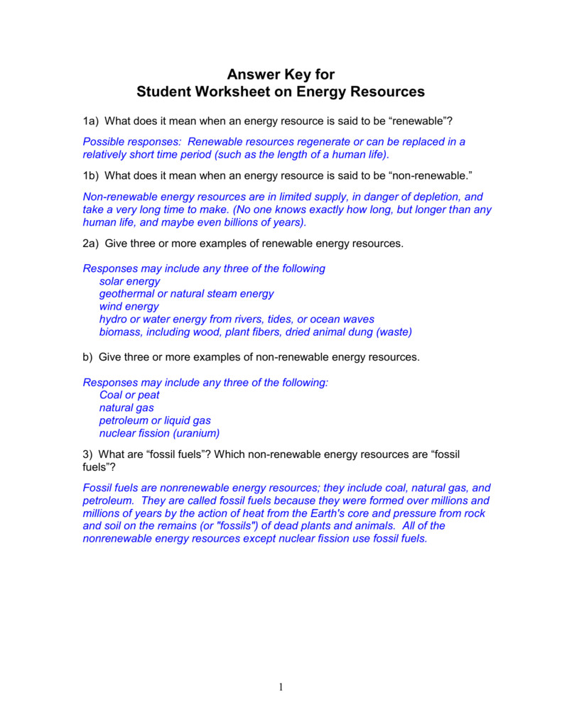 Worksheet Labeling Waves Answer Key Unique Energy and Energy Resources Worksheet