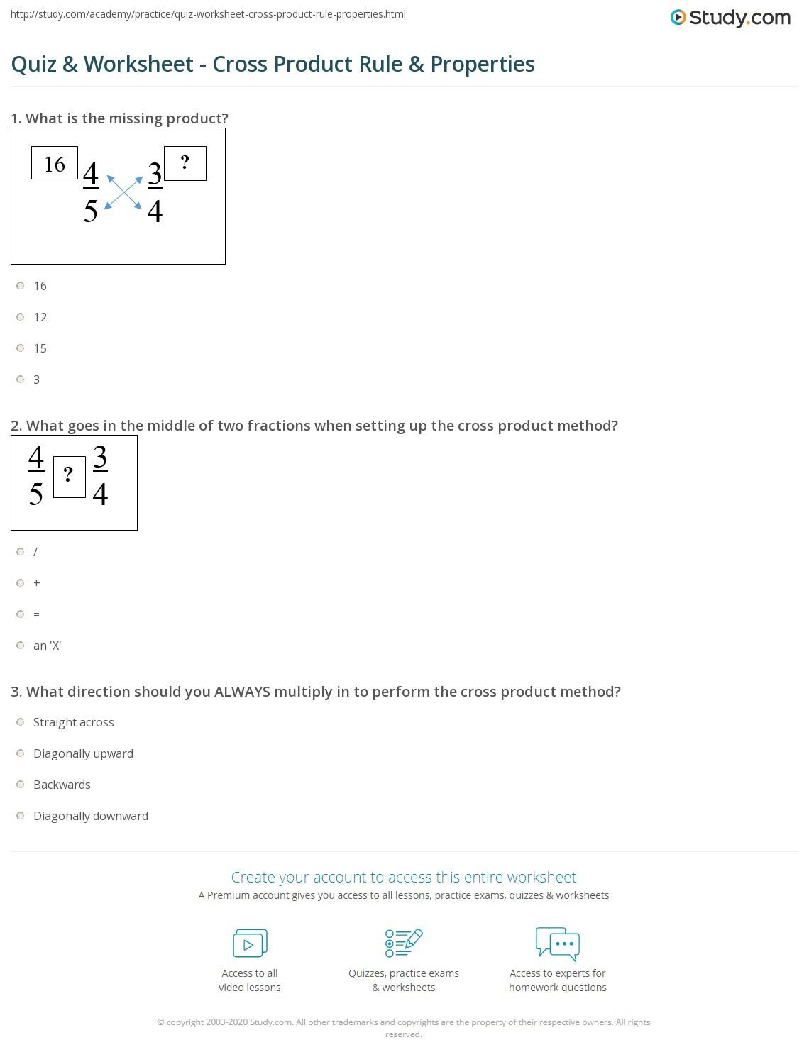 Writing A Function Rule Worksheet Quiz & Worksheet Cross Product Rule & Properties