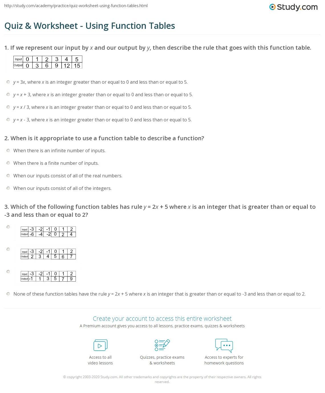 Writing A Function Rule Worksheet Quiz & Worksheet Using Function Tables