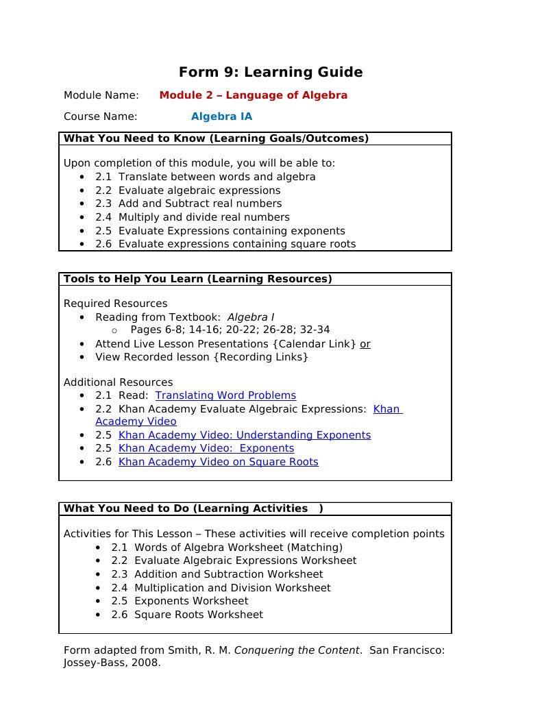 Writing and Evaluating Expressions Worksheet Fenniman Janice form 9 Module 2