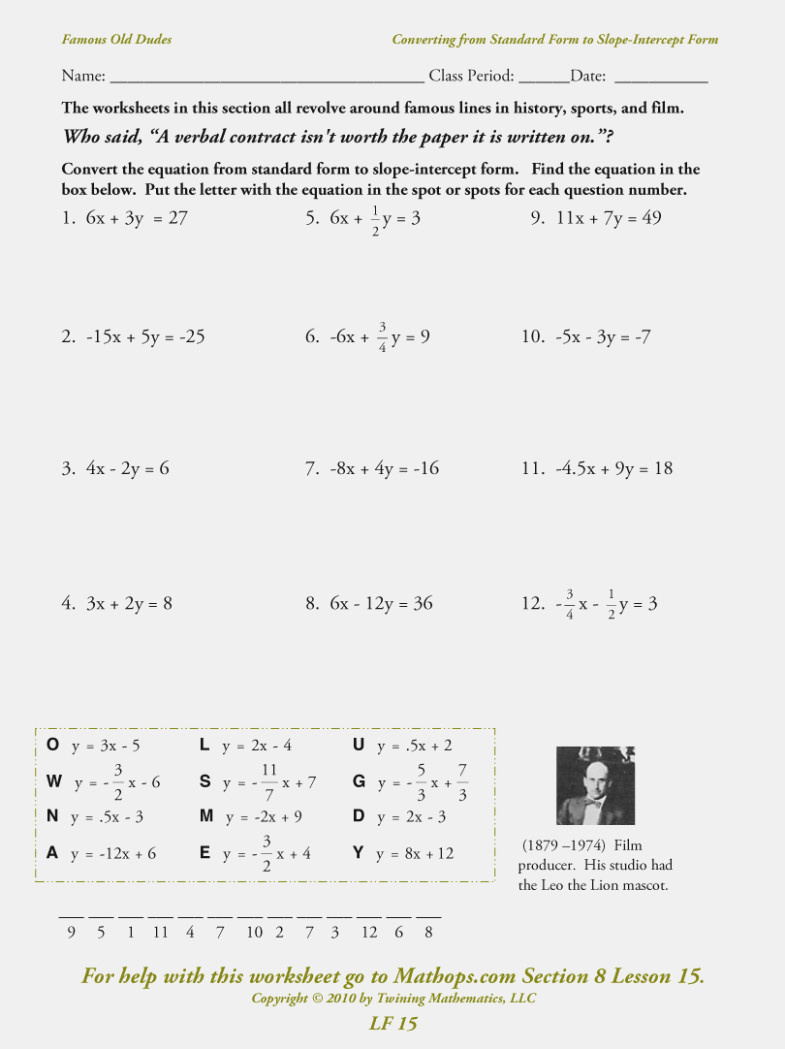 Writing Linear Equations Worksheet Answers Lovely Linear Equations Worksheet with Answers