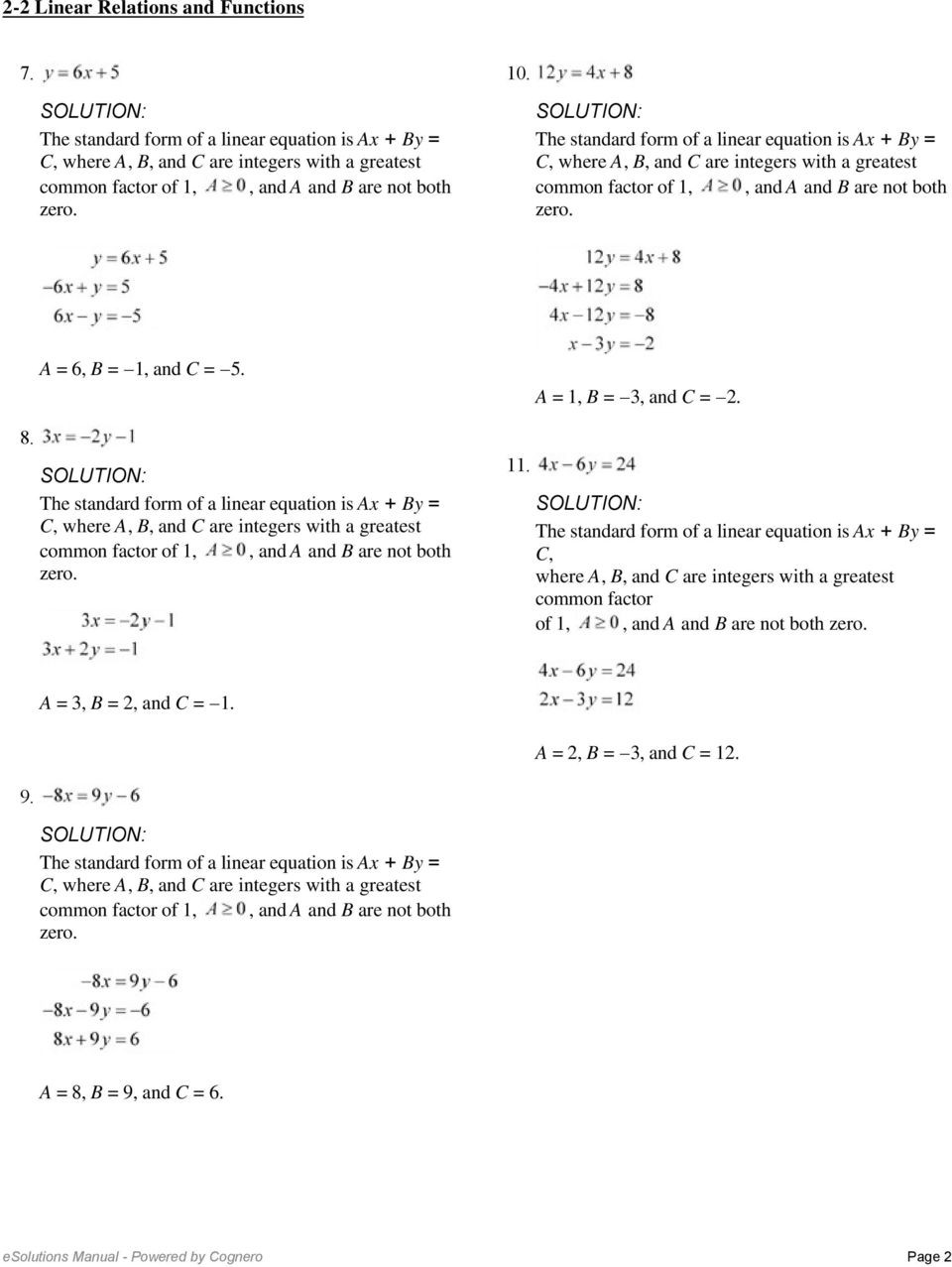 Writing Linear Equations Worksheet Answers Writing Linear Equations From A Table Worksheet Lesson 5 2