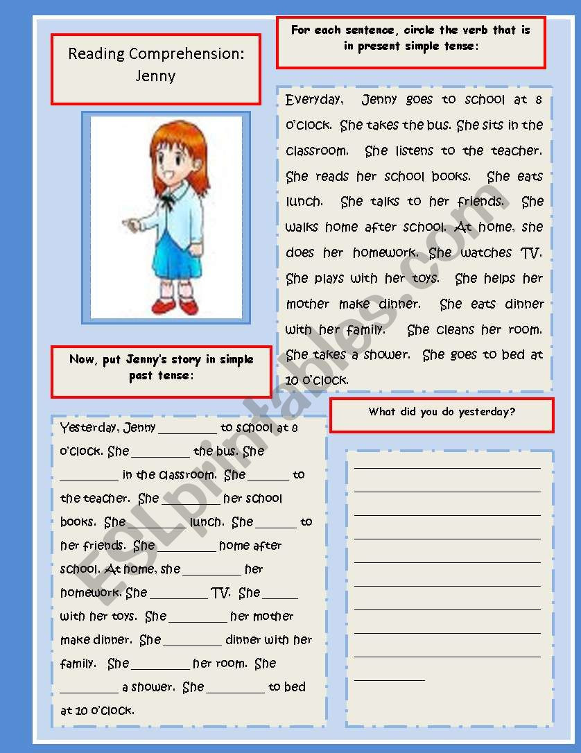 Writing Two Step Equations Worksheet Reading and Writing Exercise Present Simple Past Tense Esl