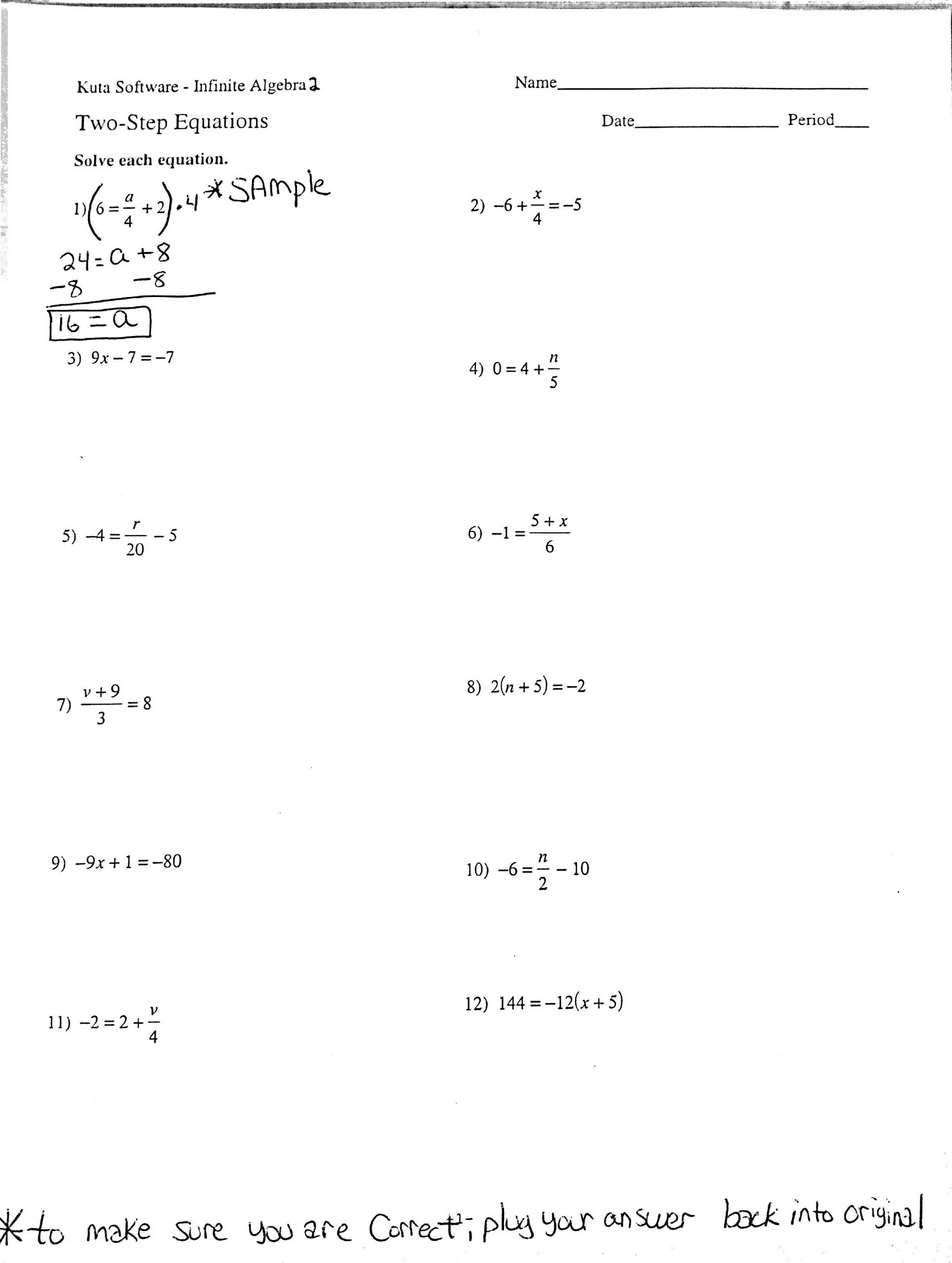 Writing Two Step Equations Worksheet solving Two Step Equations Worksheet