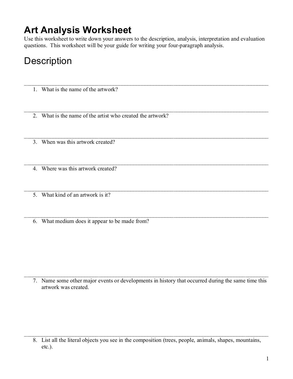 Written Document Analysis Worksheet Answers Artwork Analysis Worksheet by Colin Duff Via Slideshare
