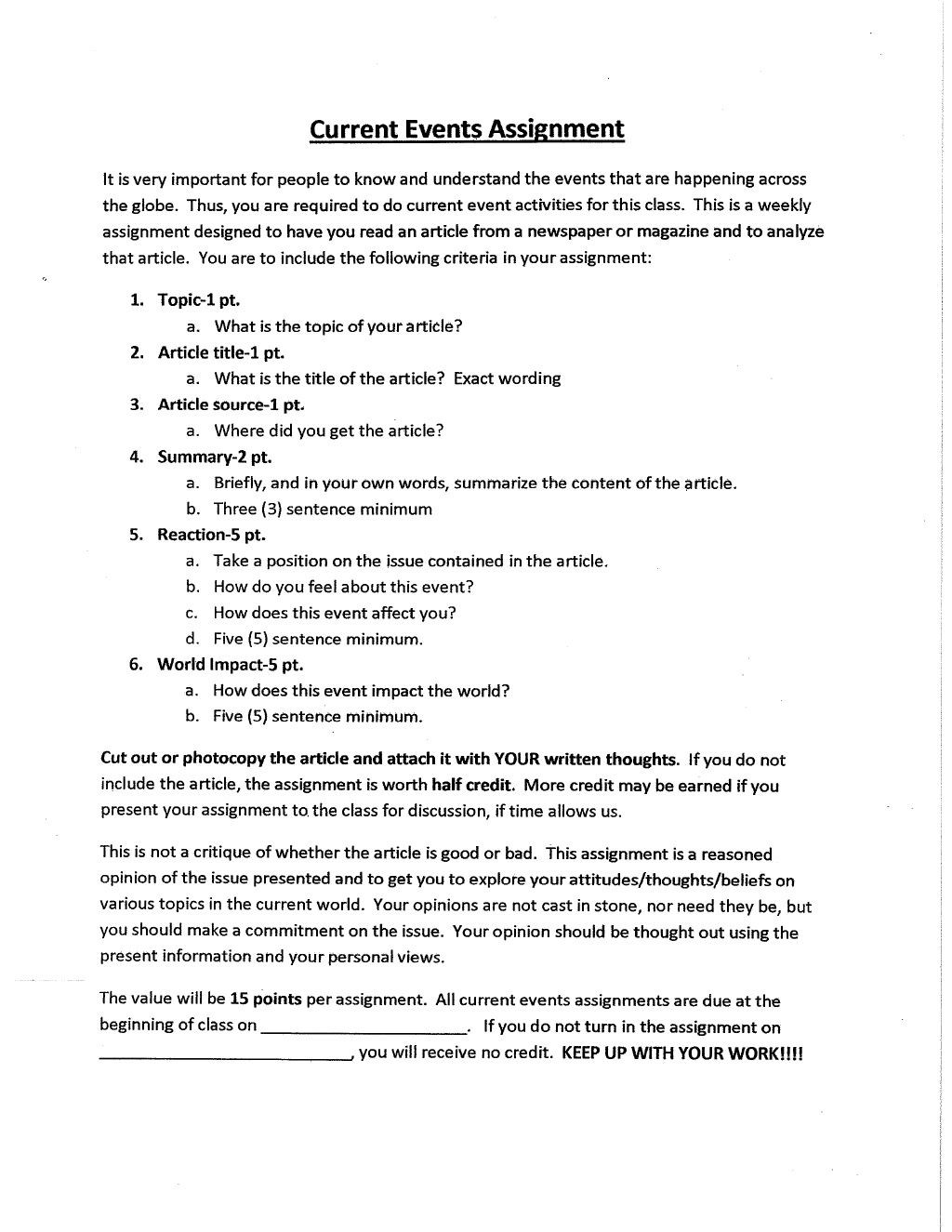 Written Document Analysis Worksheet Answers Current events assignment Rubric Presentation by Jaqcl Via