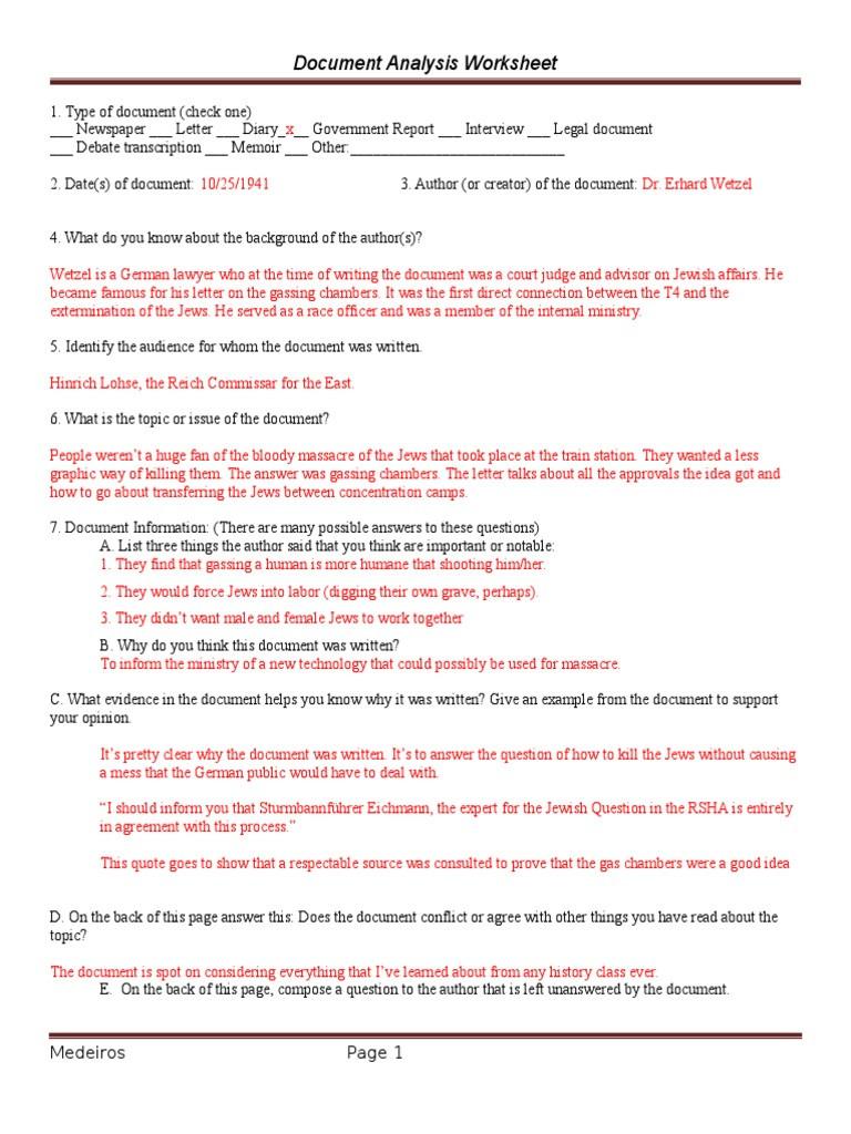 Written Document Analysis Worksheet Answers Document Analysis Worksheet Nazi Extermination Camp