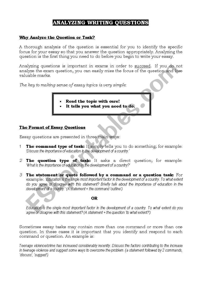 Written Document Analysis Worksheet Answers English Worksheets Analysing Writing Questions