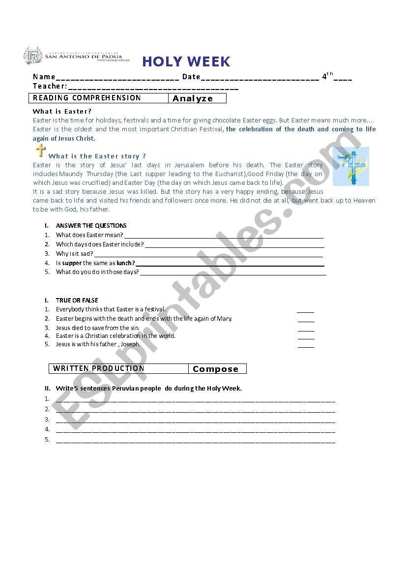 Written Document Analysis Worksheet Answers Holy Week Esl Worksheet by Ale Vimac