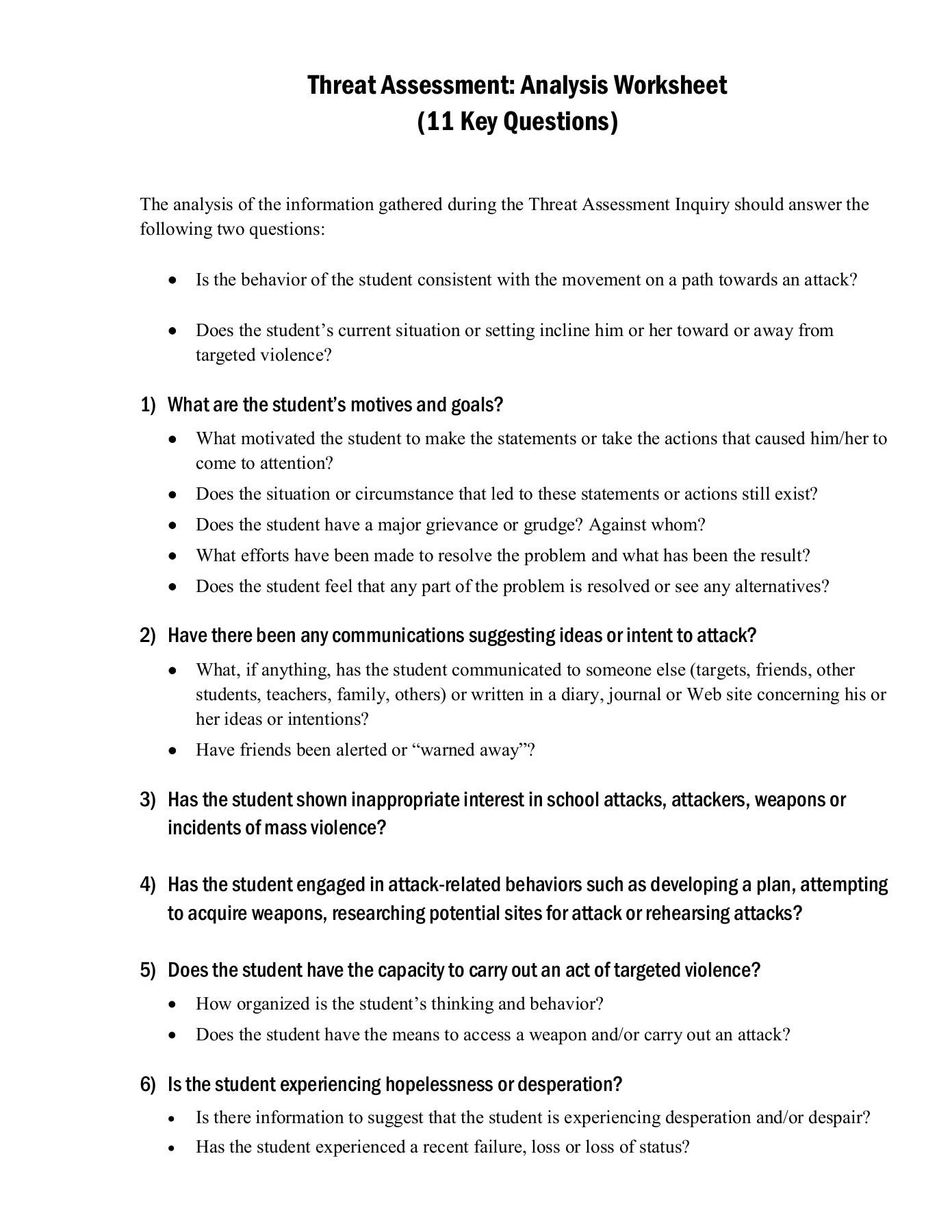 Written Document Analysis Worksheet Answers Threat assessment Analysis Worksheet 11 Key Questions