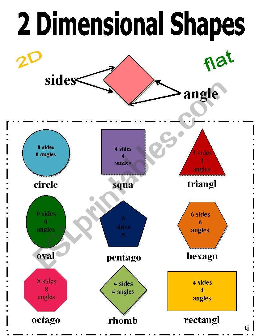2 Dimensional Shapes Worksheet 2 Dimensional Shapes Esl Worksheet by Tamberly