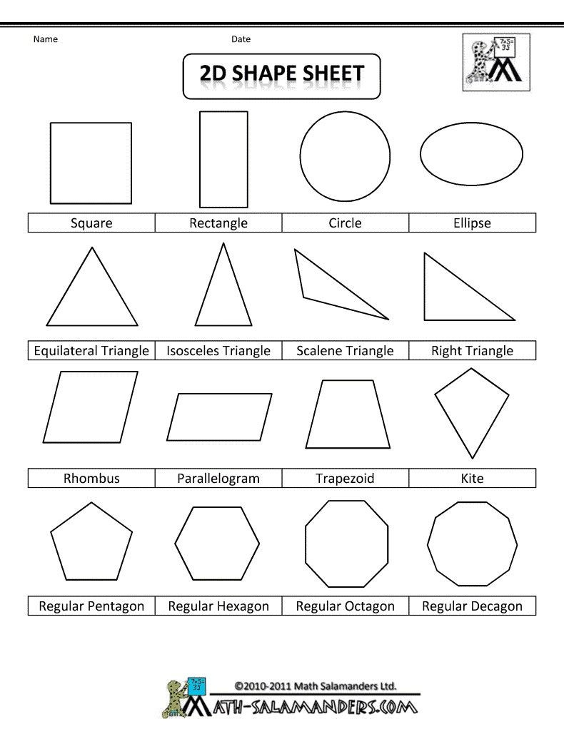 2 Dimensional Shapes Worksheet 4 Worksheet Free Math Worksheets Second Grade 2 Geometry 3d