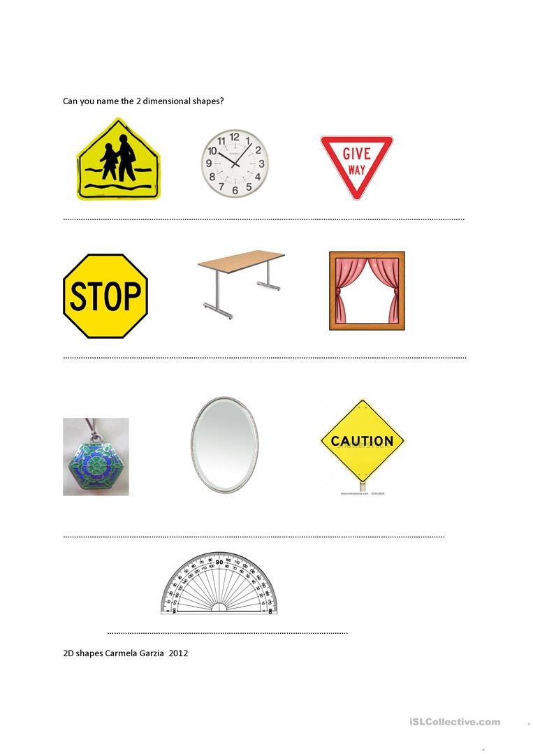 2 Dimensional Shapes Worksheet Can You Name the Two Dimensional Shapes English Esl