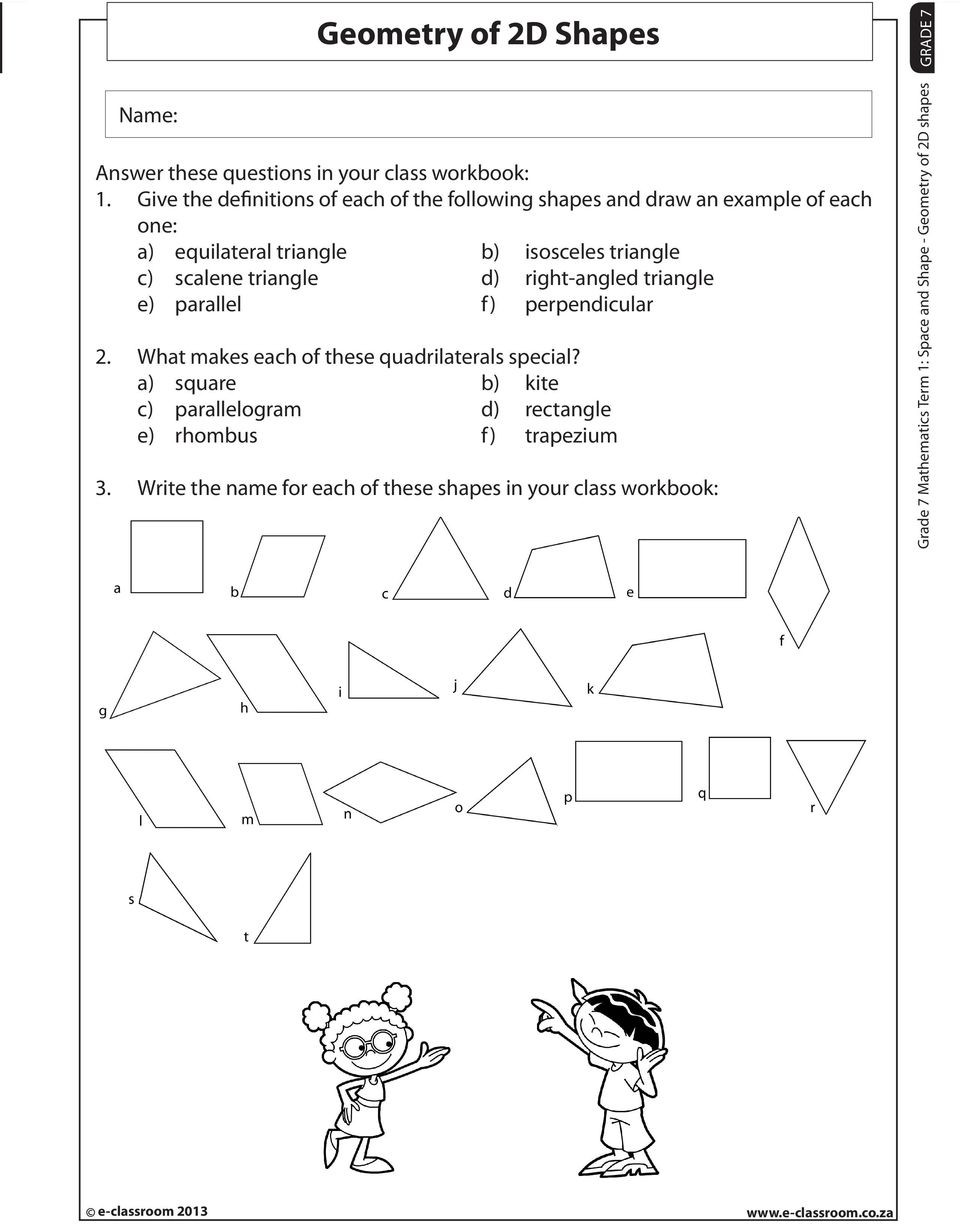 2 Dimensional Shapes Worksheet Geometry Of 2d Shapes Pdf Free Download
