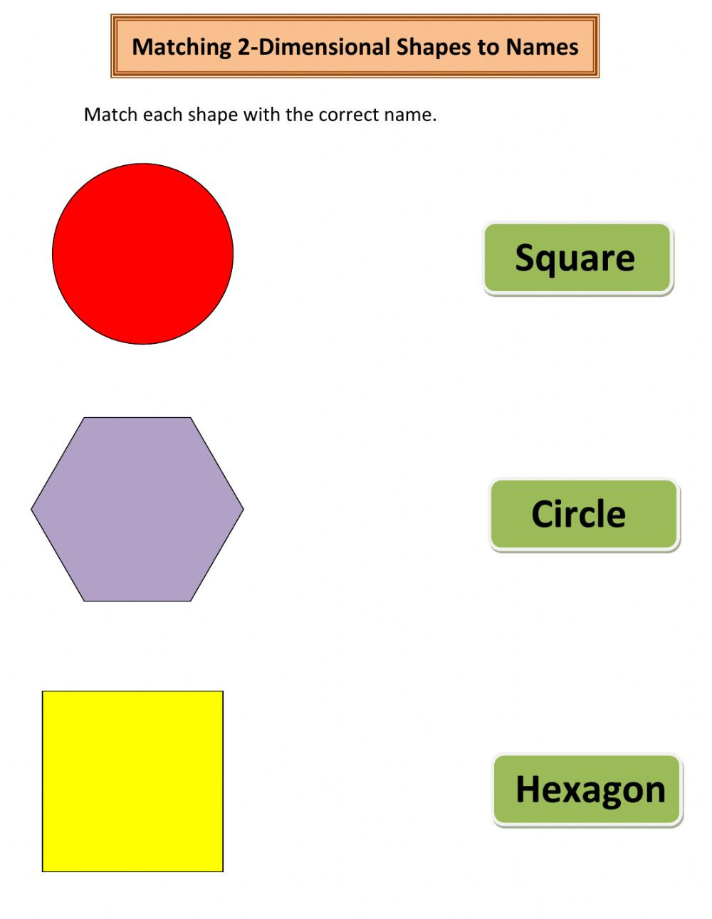 2 Dimensional Shapes Worksheet Matching 2 Dimensional Shapes to Names Interactive Worksheet