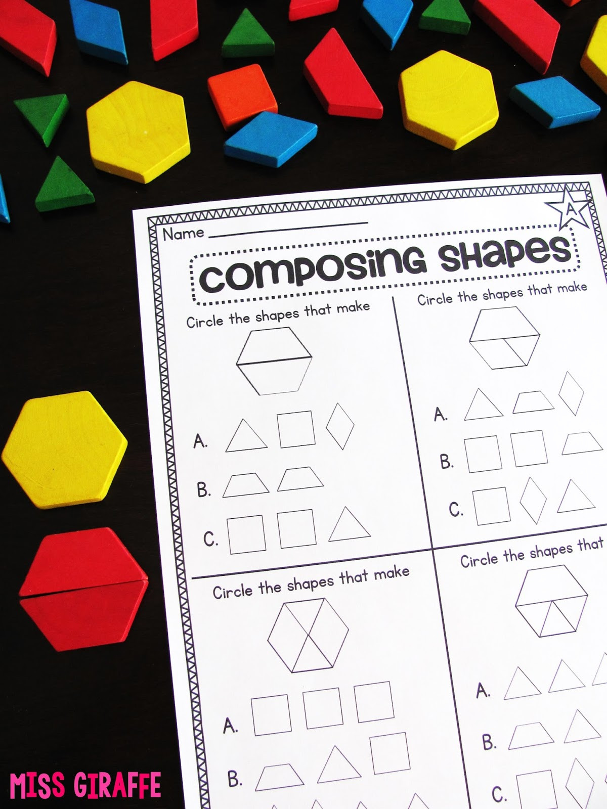 2 Dimensional Shapes Worksheet Miss Giraffe S Class Posing Shapes In 1st Grade