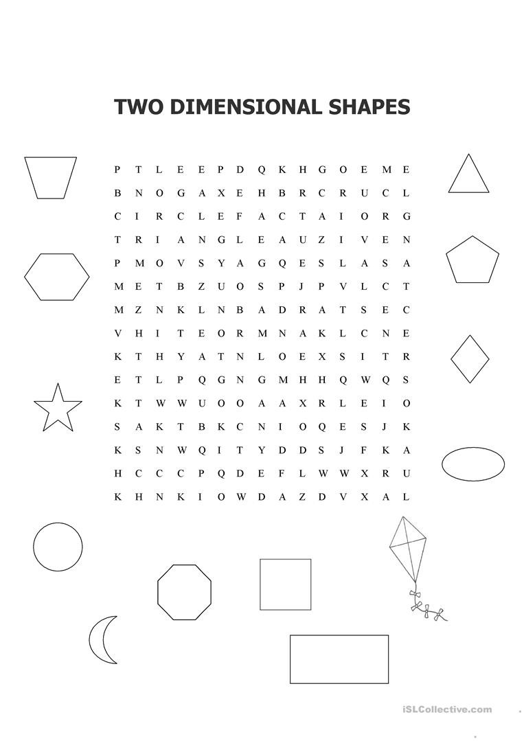 2 Dimensional Shapes Worksheet Two Dimensional Shapes Word Search English Esl Worksheets