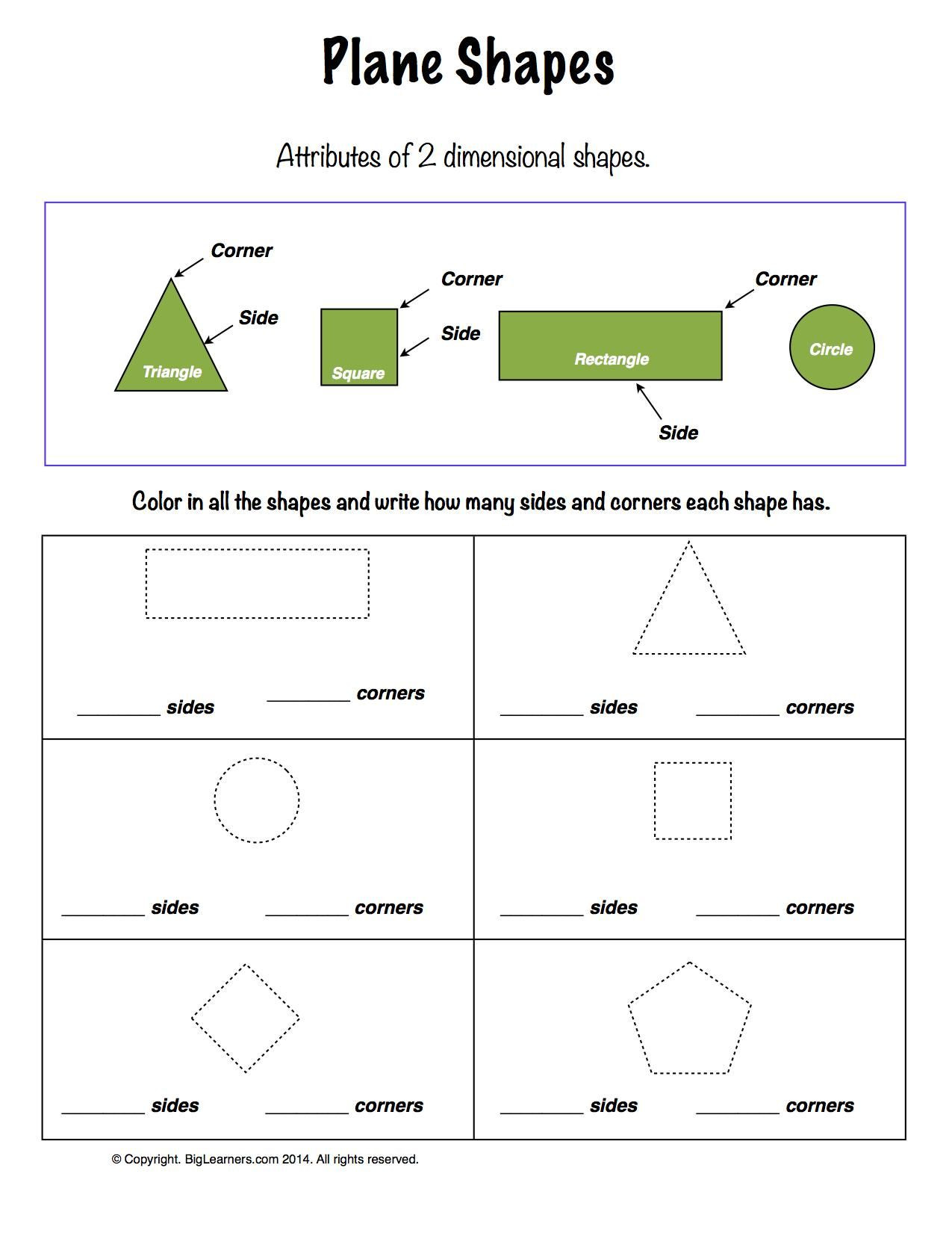 2 Dimensional Shapes Worksheet Worksheet Plane Shapes