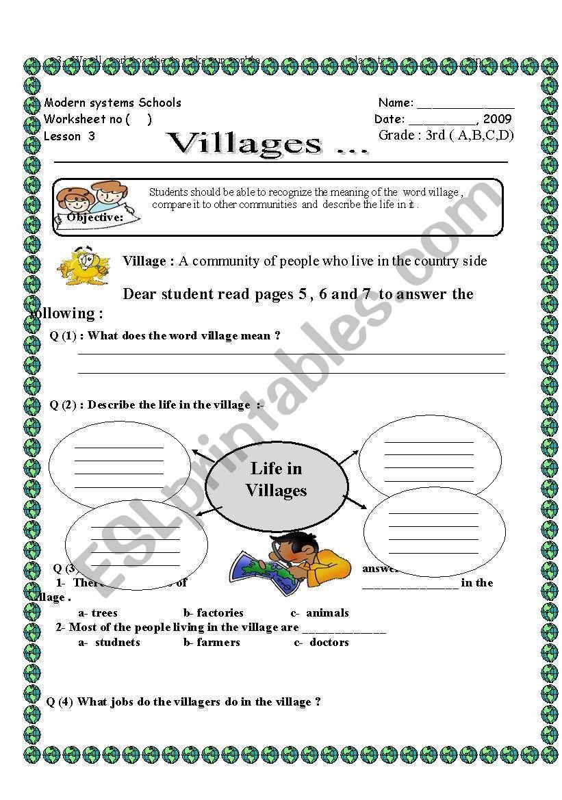 3rd Grade social Studies Worksheet English Worksheets Vilages social Stu S