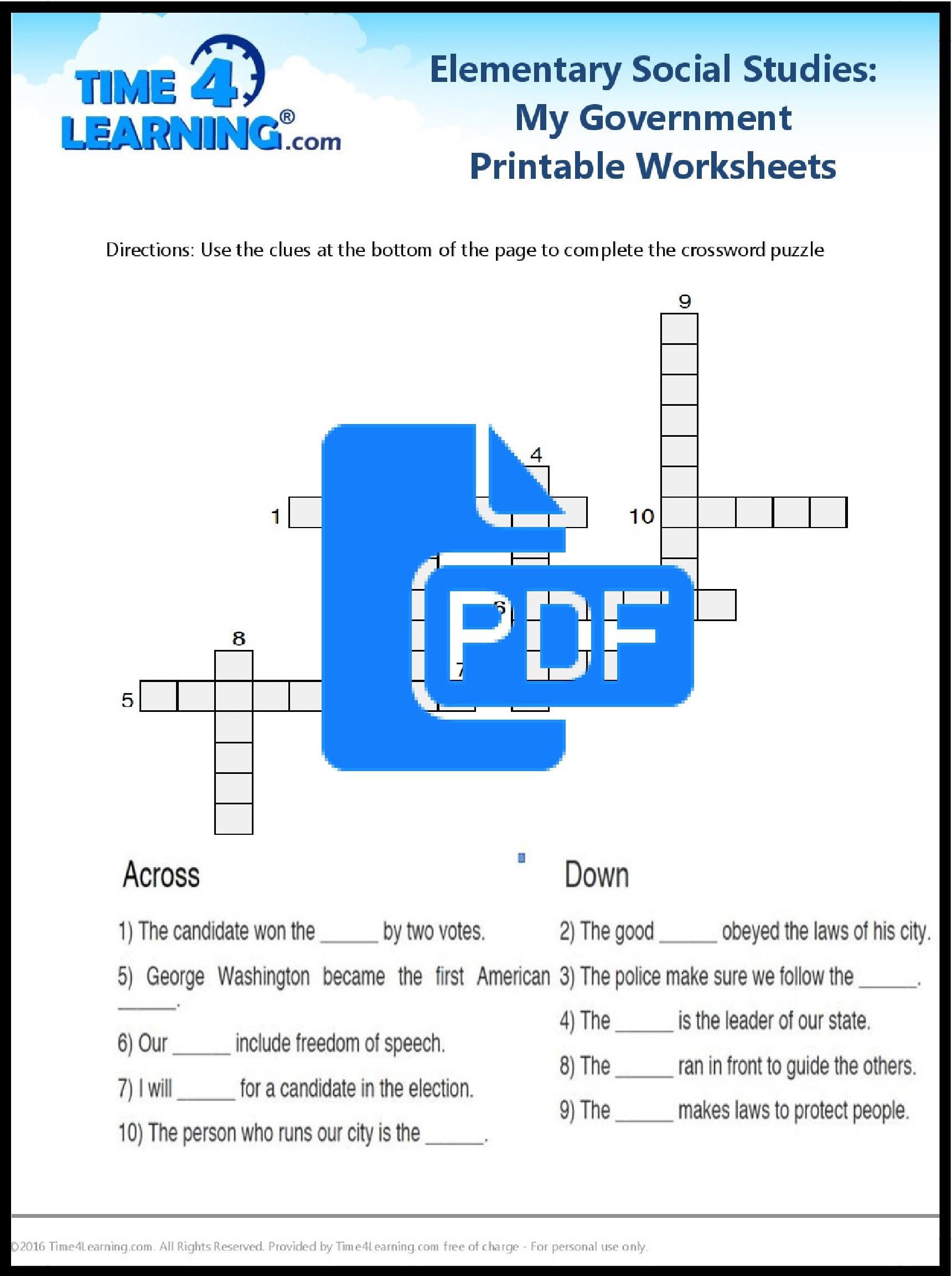 3rd Grade social Studies Worksheet Free Printable Elementary social Stu S Worksheet