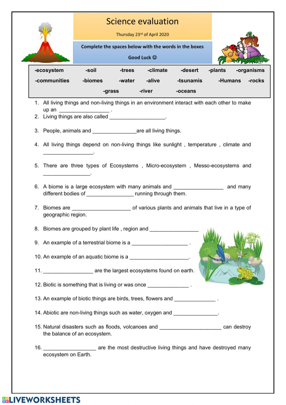 4 4 Biomes Worksheet Answers Ecosystems Online Worksheet and Pdf