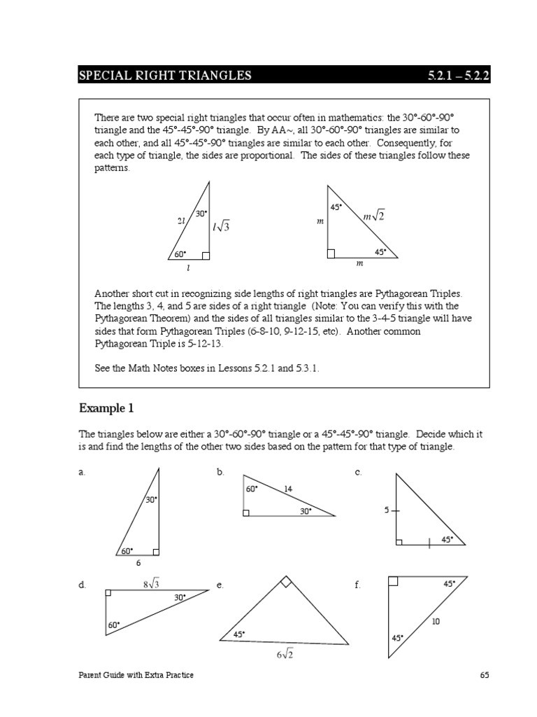 5 8 Special Right Triangles Worksheet Ccg Pg Ch5 2 Triangle