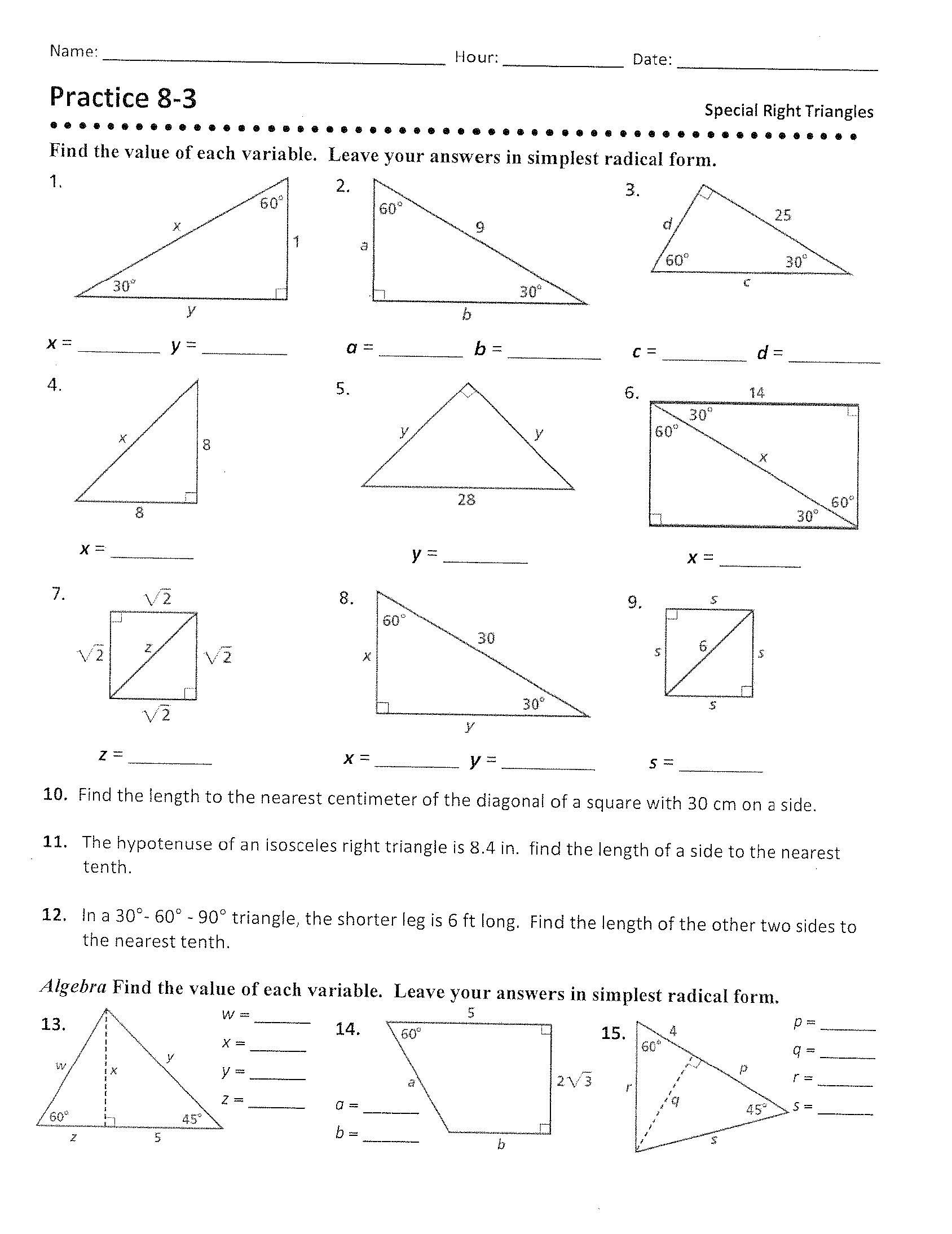 """5 8 Special Right Triangles Worksheet Geometry """"b"""" Mr Revett S Web Page"""