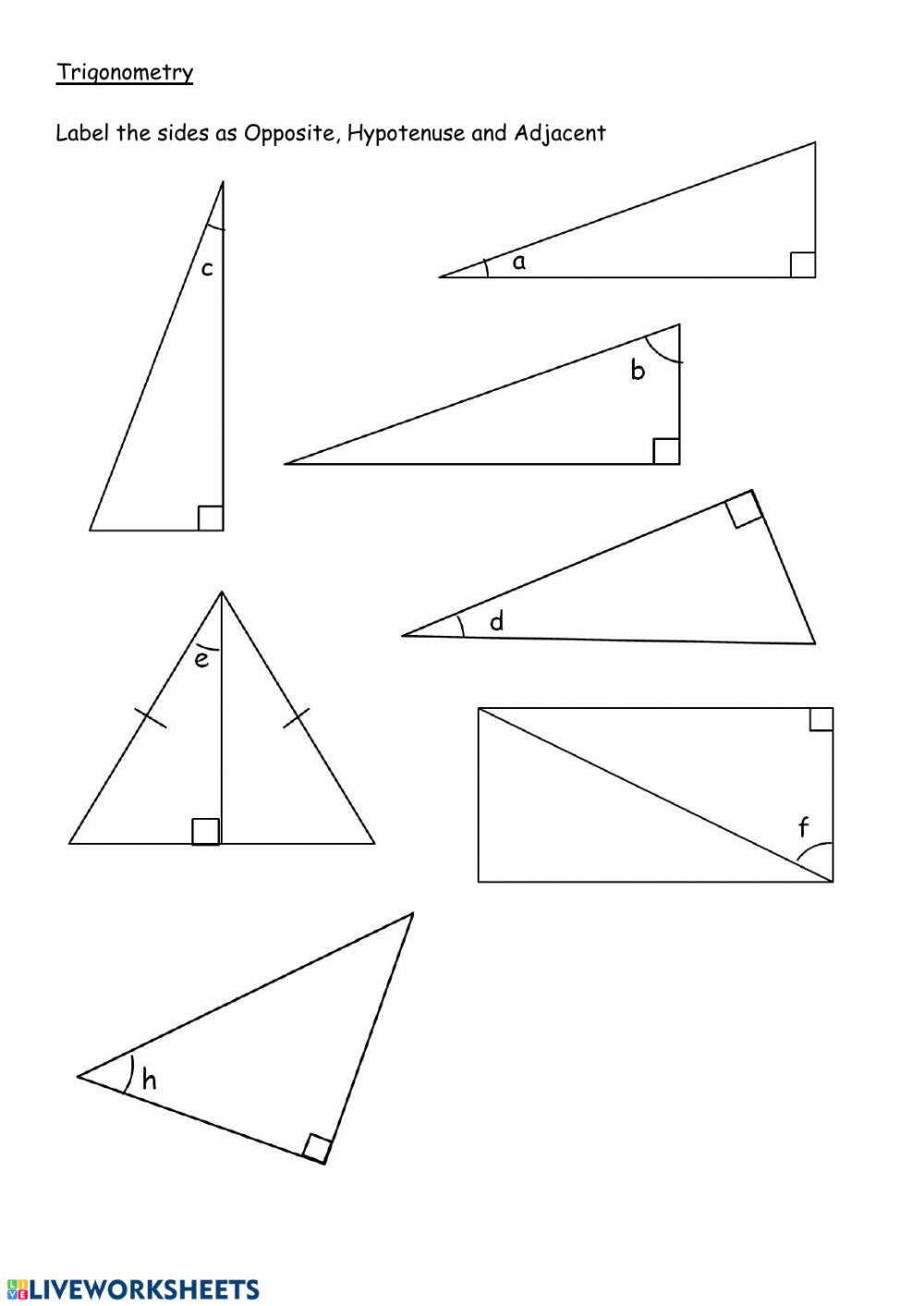 5 8 Special Right Triangles Worksheet Label Sides In Right Angle Triangles Interactive Worksheet