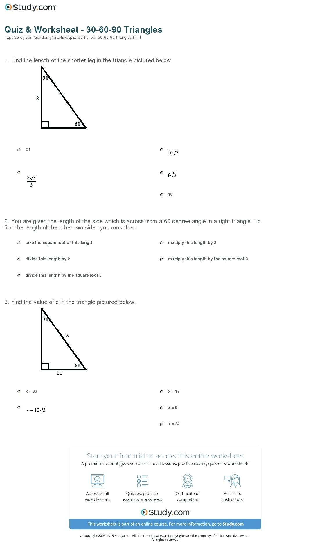 5 8 Special Right Triangles Worksheet Special Right Triangles Worksheet Find the Missing Sides
