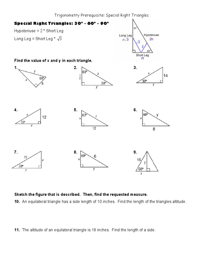 5 8 Special Right Triangles Worksheet Special Right Triangles Ws