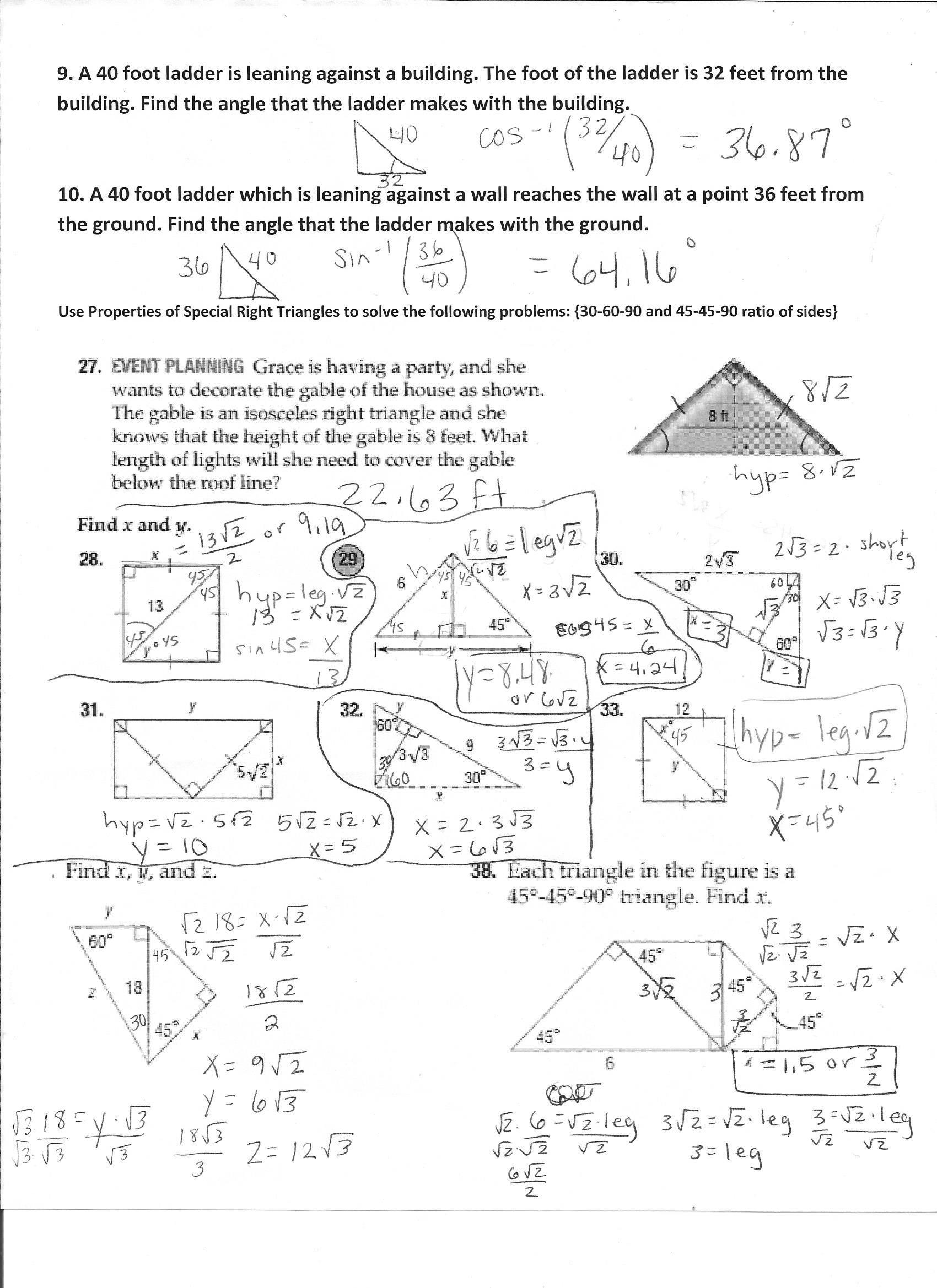 5 8 Special Right Triangles Worksheet Unit 7 Trigonometry ï ¿mrs Stowe