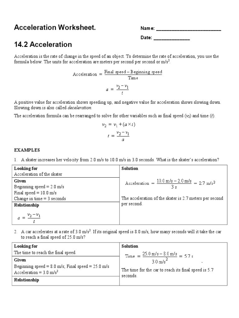 Acceleration Worksheet with Answers Acceleration Worksheet Acceleration