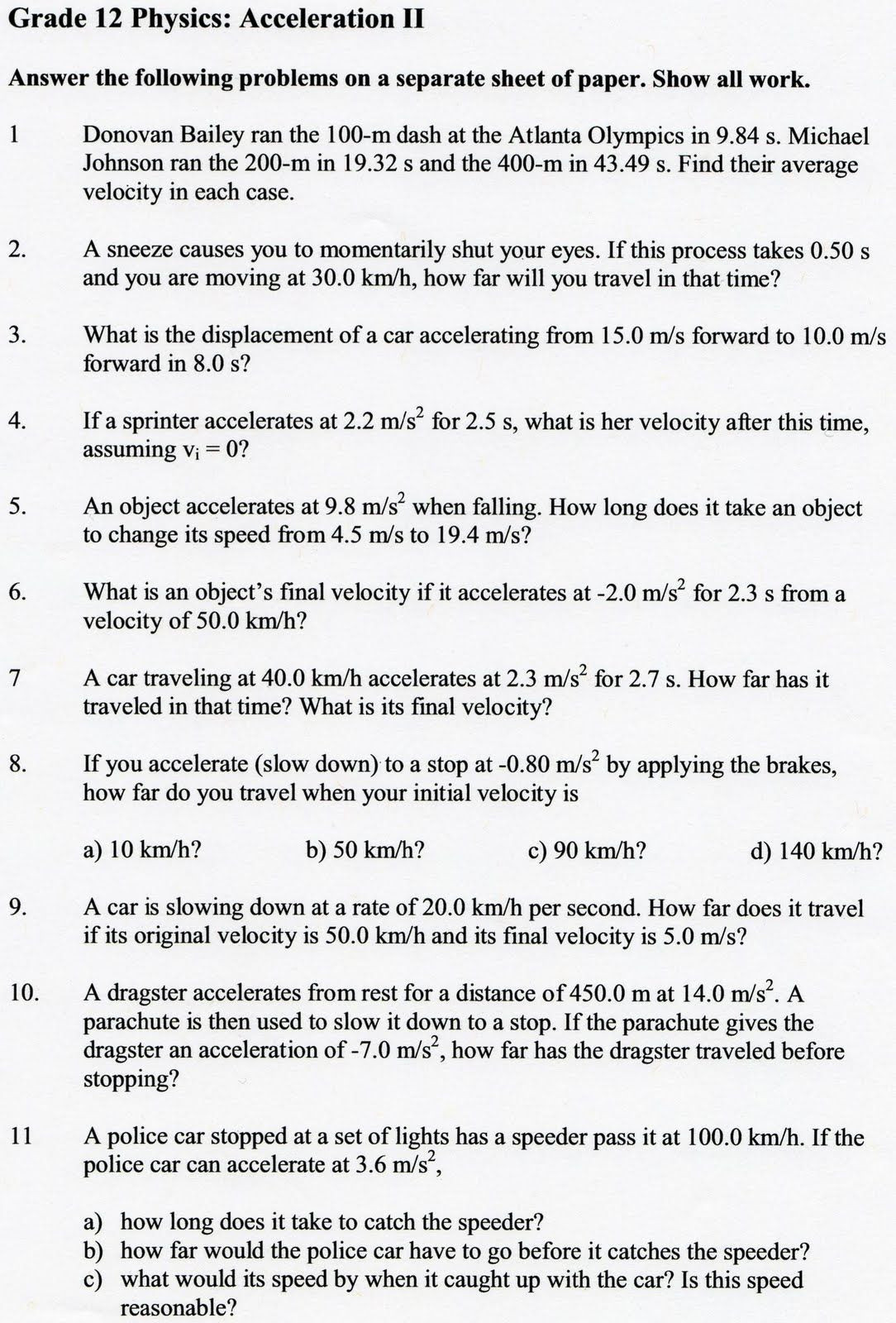 Acceleration Worksheet with Answers Displacement Velocity Acceleration Worksheet