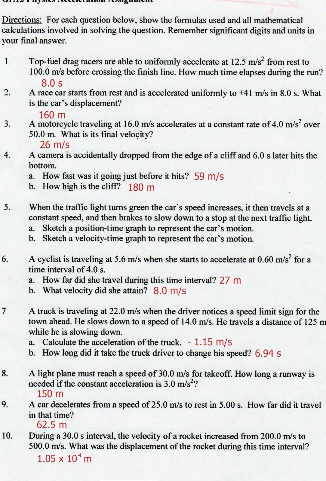 Acceleration Worksheet with Answers Pin On Examples Worksheet Answers Key