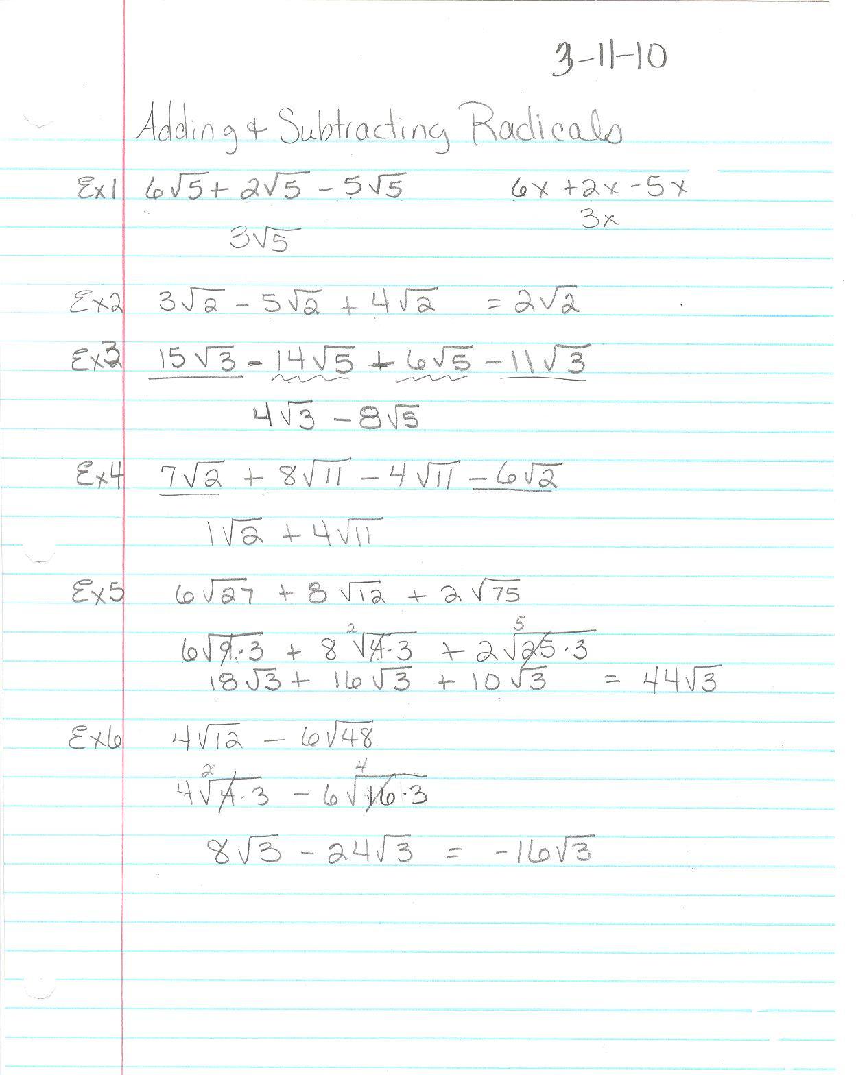 Adding and Subtracting Radicals Worksheet Adding Radicals Worksheet