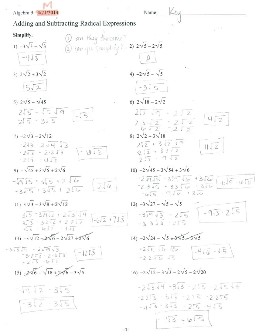 Adding and Subtracting Radicals Worksheet Multiplying and Dividing Radicals Worksheet Answers Nidecmege