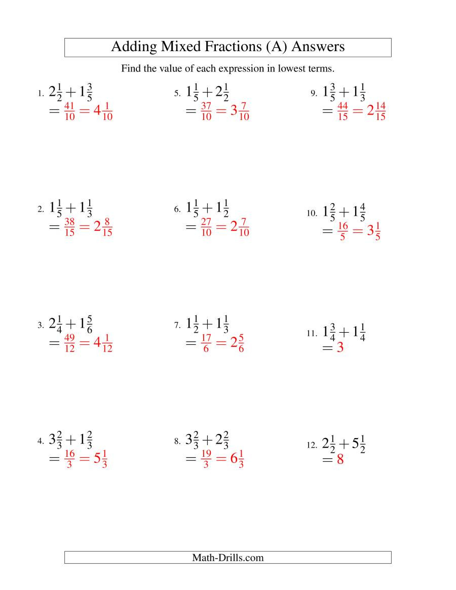 Adding Mixed Numbers Worksheet Adding Mixed Fractions Easy Version A
