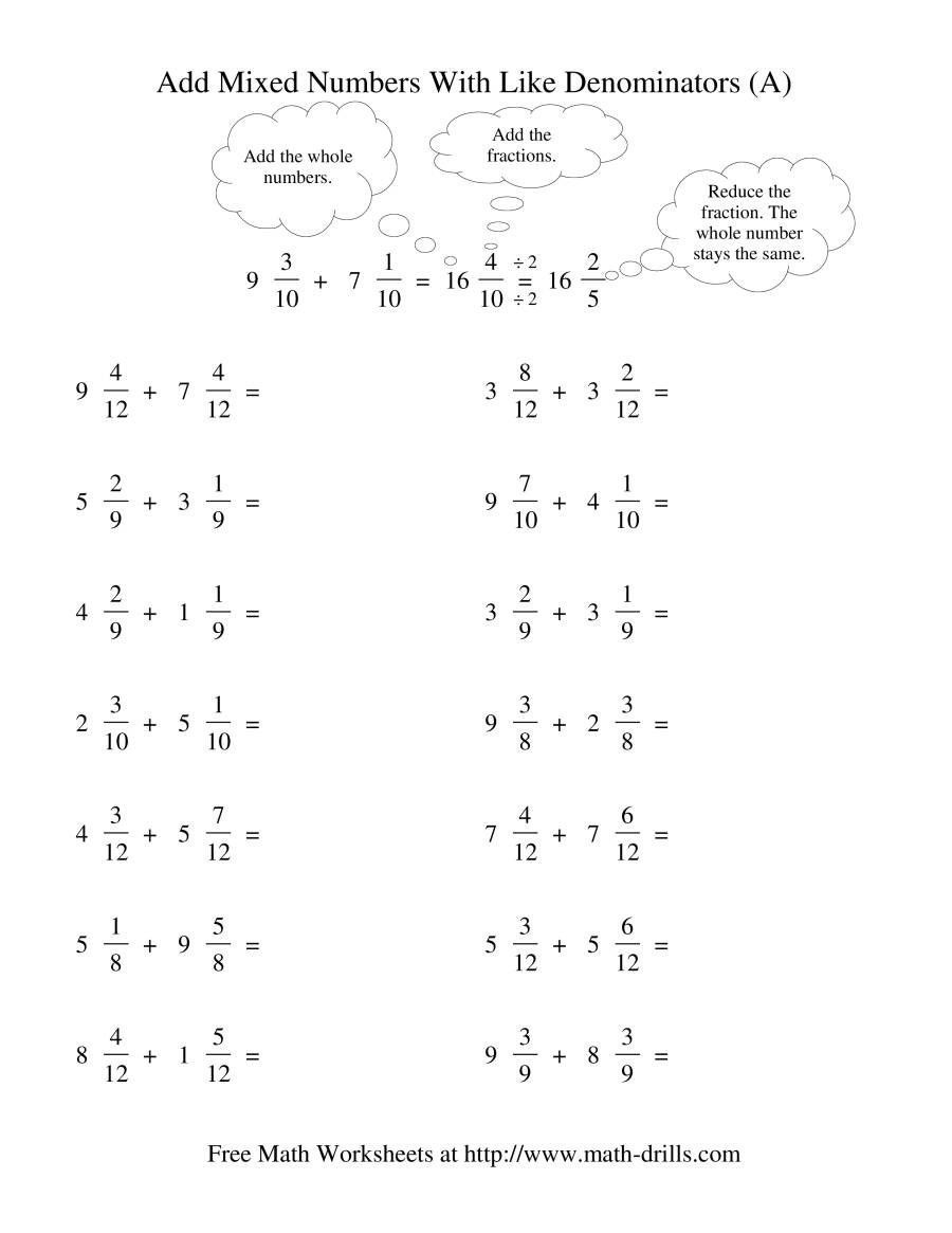 Adding Mixed Numbers Worksheet Adding Mixed Fractions Like Denominators Reducing No
