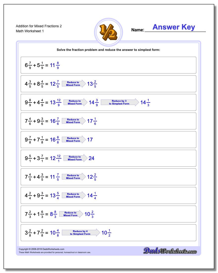 Adding Mixed Numbers Worksheet Adding Mixed Fractions with A Mon Denominator