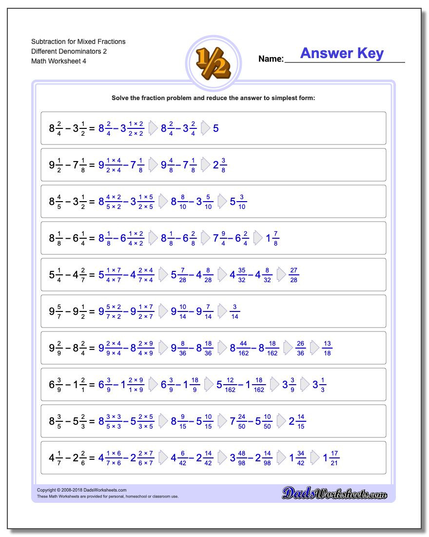 Adding Mixed Numbers Worksheet Adding Mixed Fractions with Unlike Denominators