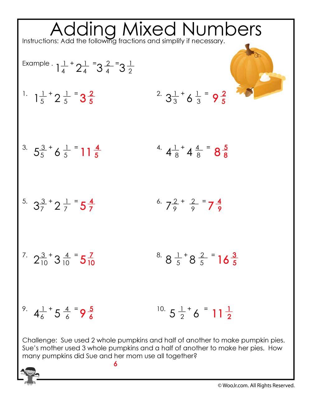 fall mixed numbers worksheet ak
