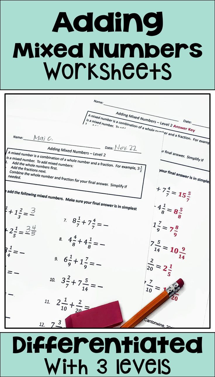 Adding Mixed Numbers Worksheet Adding Mixed Numbers Worksheets for Math Centers Homework