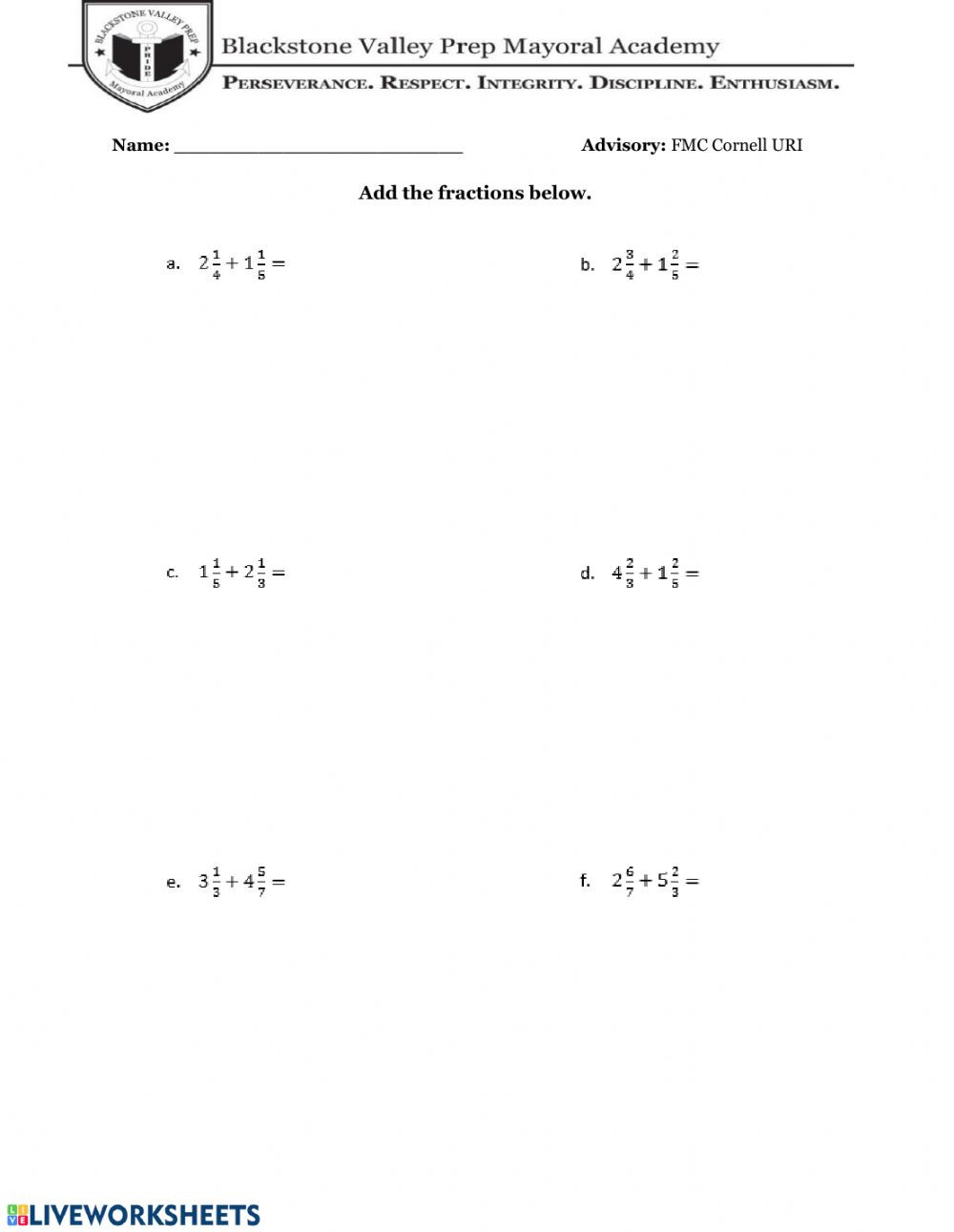 Adding Mixed Numbers Worksheet Adding Subtracting Fractions with Mixed Numbers