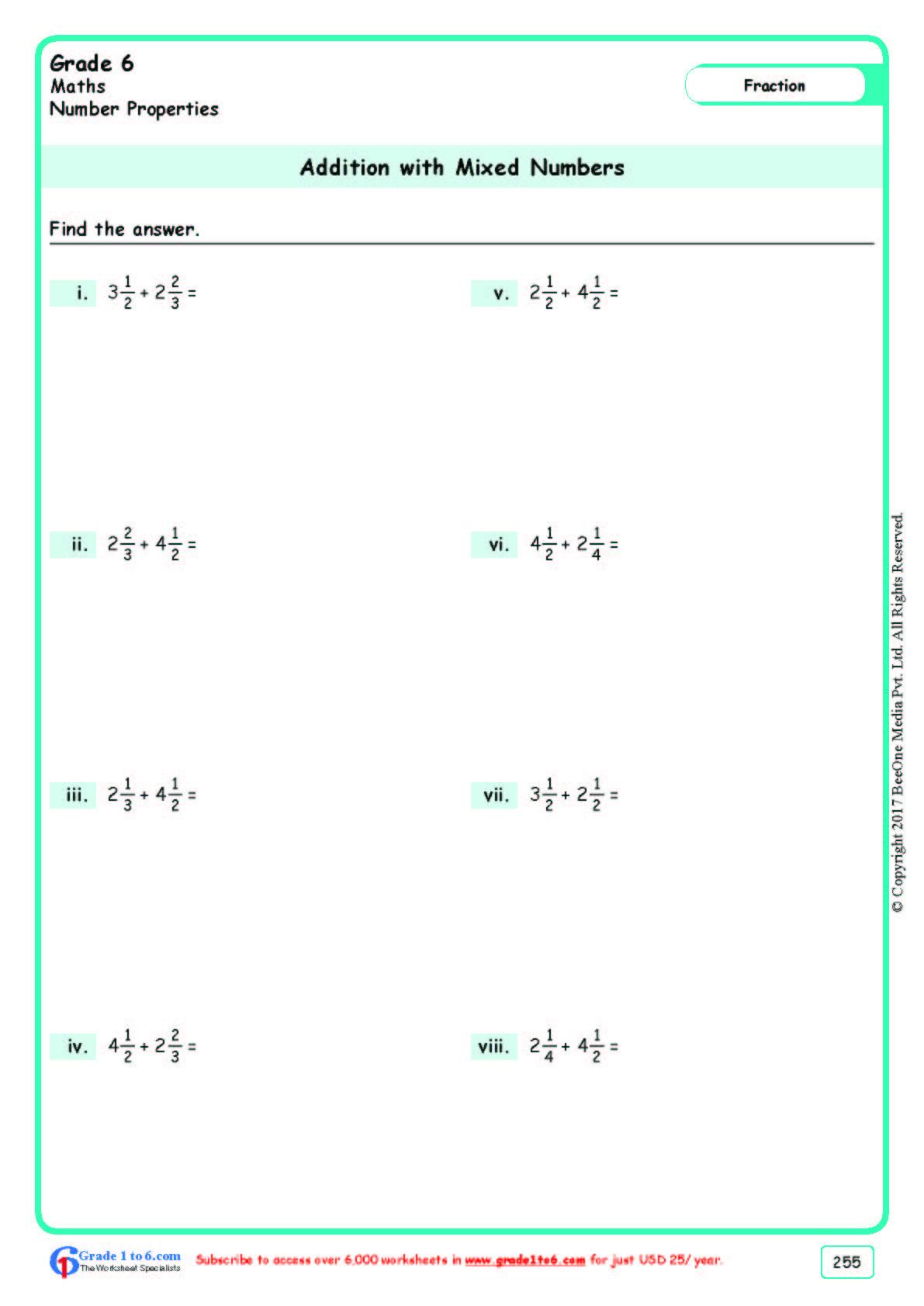 Adding Mixed Numbers Worksheet Grade 6 Class Six Adding Mixed Numbers Worksheets