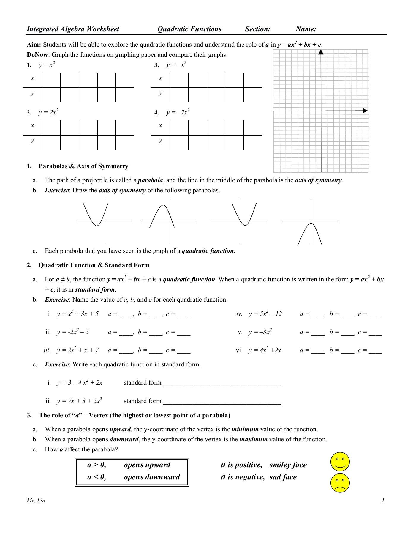 Algebra 1 Functions Worksheet Algebra Worksheet 09 Qudratic Functions Pages 1 5 Text