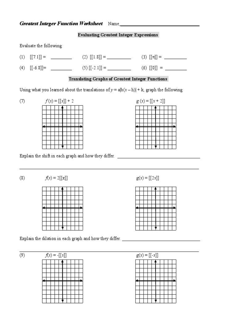 Algebra 1 Functions Worksheet Greatest Integer Functions Worksheet 1 C