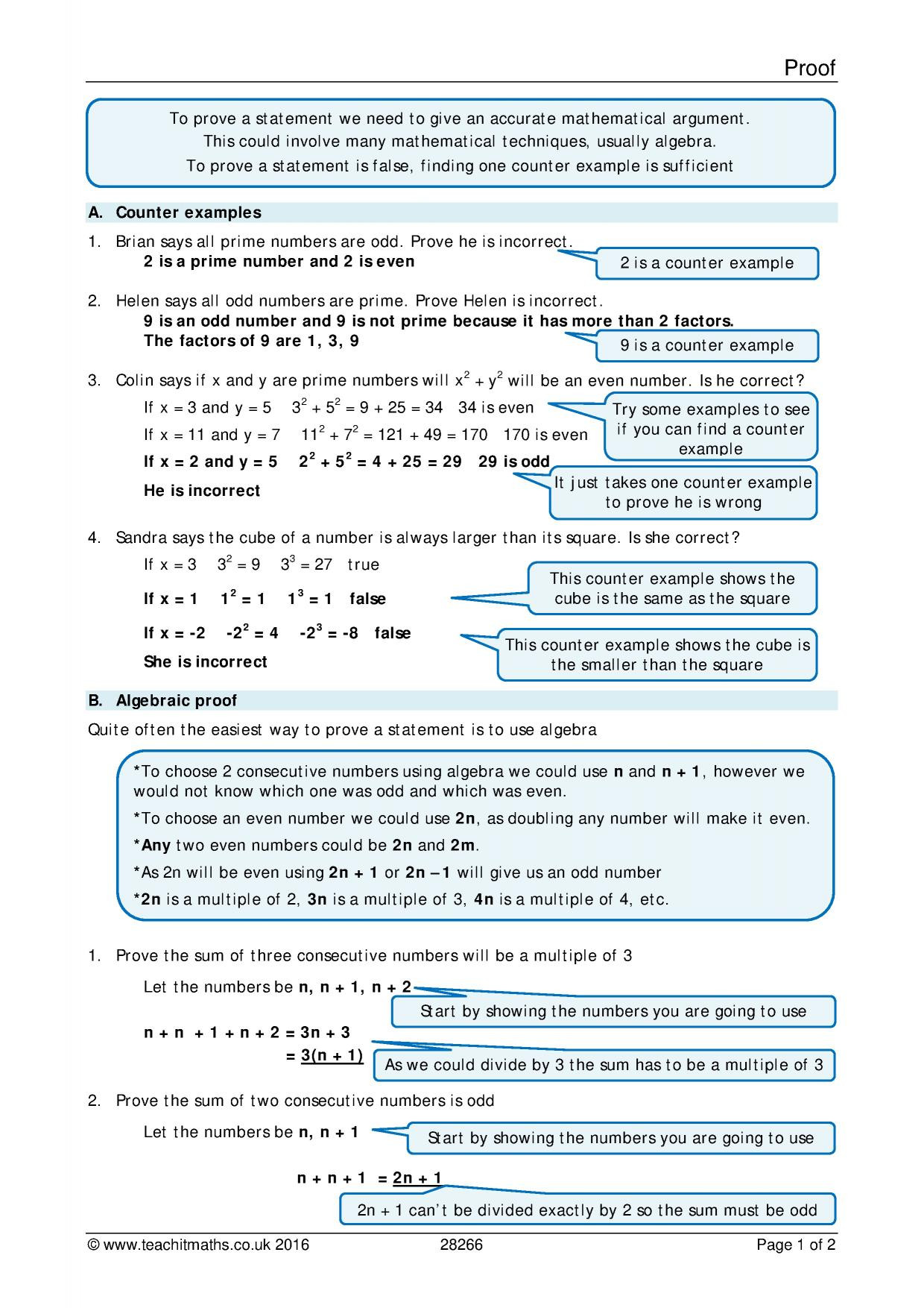 Algebraic Proofs Worksheet with Answers Algebra Search Results Teachit Maths